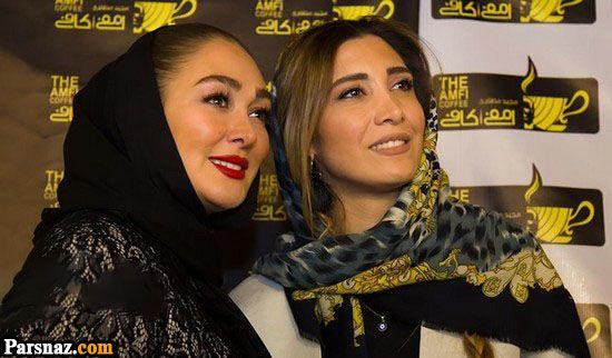 هنرمندان در افتتاحیه کافه بازیگر مشهور و دخترش