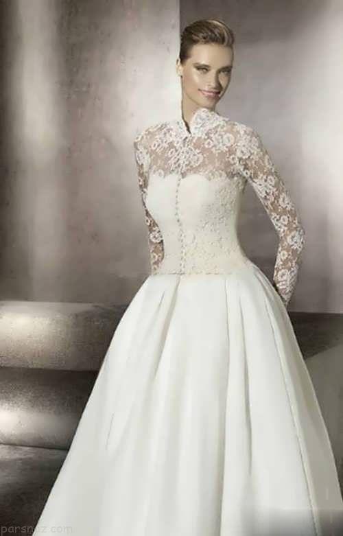 شیک ترین مدل های لباس عروس یقه ایستاده