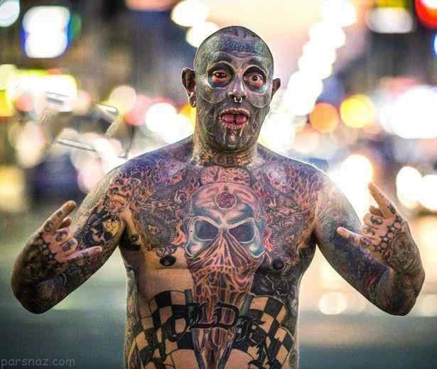 مدل خالکوبی پشت گردن عکسهای ترسناک از فستیوال خالکوبی روی صورت و بدن