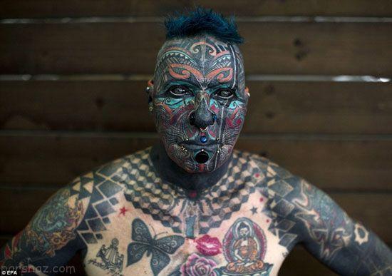عکسهای ترسناک از فستیوال خالکوبی روی صورت و بدن