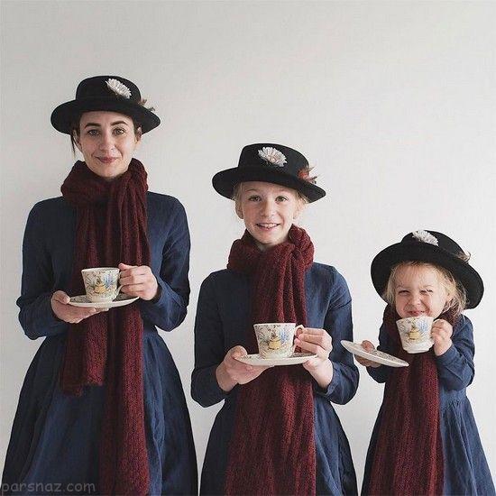 عکس های دیدنی مادر بریتانیایی و دختران زیبایش