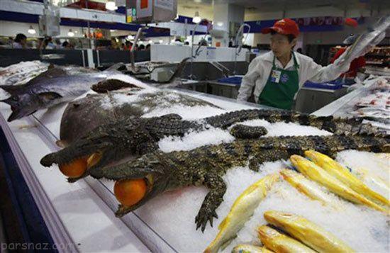 گوشت حیوانات عجیب در فروشگاه والمارت چین +عکس