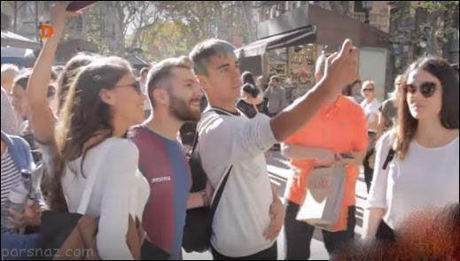 هجوم دختران اسپانیایی برای سلفی گرفتن با مسی ایرانی