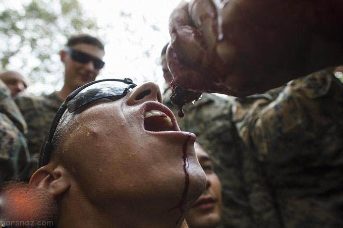 سخت ترین آموزش های نظامی و خوردن زنده حیوانات
