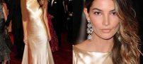 ترفند آرایش صورت خانم ها با لباس طلایی