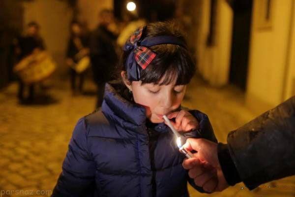 مراسم سیگار کشیدن دختر پسرهای بالای 5 سال