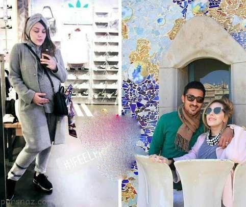 سروین بیات همسر رضا قوچان نژاد فوتبالیست مشهور در آخرین روزهای بارداری