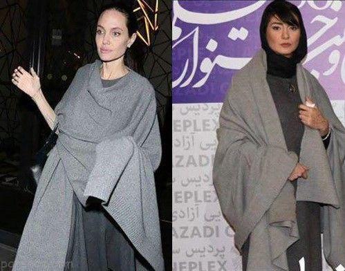 تقلید لباس مینا وحید بازیگر مشهور ایرانی از استایل آنجلینا جولی +عکس