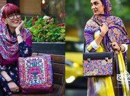 ست ها زیبای شال و کیف با هنر ایرانی   مدل کیف و شال سنتی در رنگ های بسیار زیبا