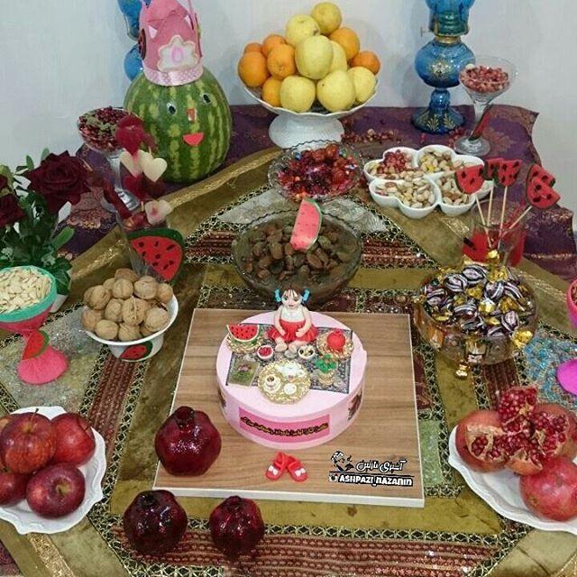 زیباترین تزیینات سفره شب یلدا | از آجیل تا میوه و کیک و انواع تزیین سفره شب چله