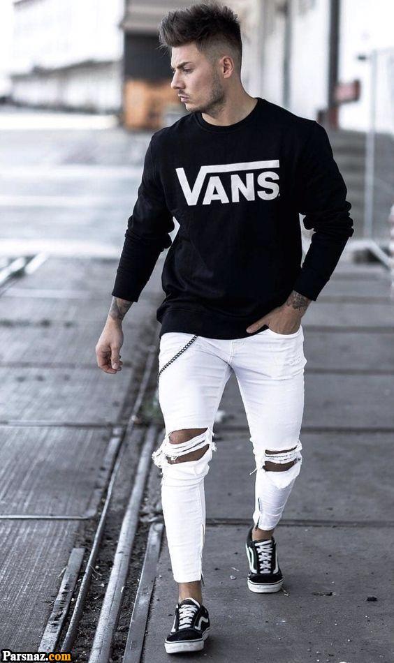شلوار جین 2019 زاپ دار مردانه 98 + راهنمای خرید و انتخاب شلوار زخمی مردانه 1398