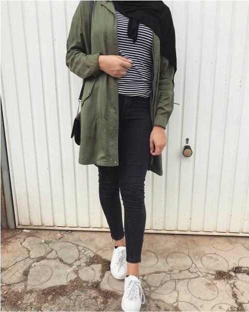 تیپ دانشجویی اسپرت دخترانه + راهنمای ست کردن مانتو دانشجویی