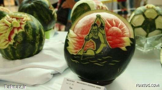 میوه آرایی بسیار زیبا روی هندوانه