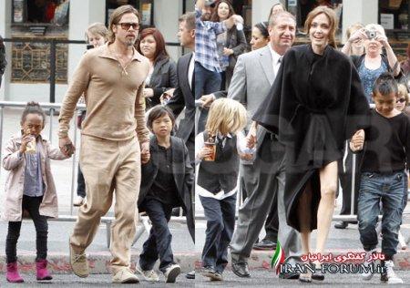 انجلینا جولی همراه با خانواده برای تماشای پاندای کونگ فوکار 2+ عکس