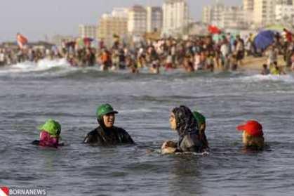 شنای زنان در سواحل غزه : تصاویر