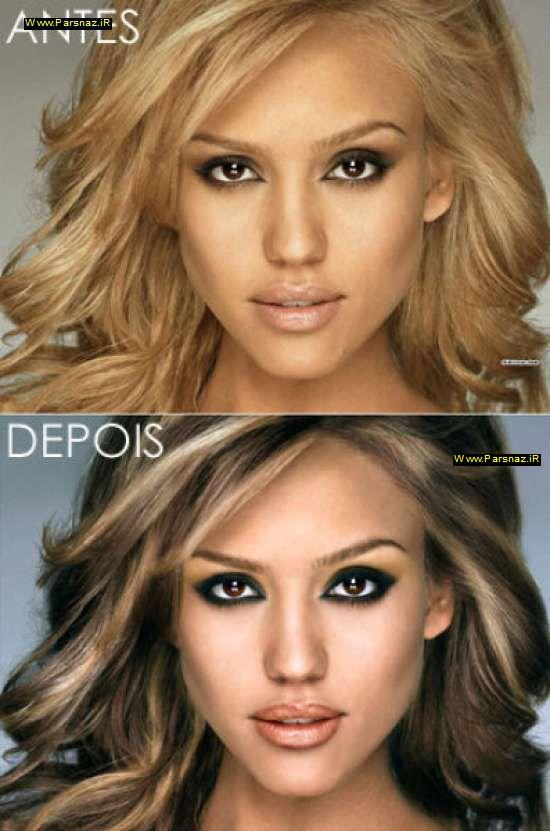 عکس های زنان معروف جهان قبل از آرایش و بعد از آرایش