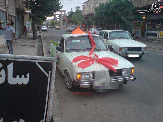 حمل عروس با ماشین وانت + عکس