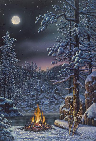 عکسهایی از نقاشی های زیبا و زمستانی از kim norlien