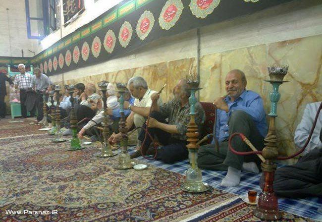سرو قلیان در یکی از مساجد ایران