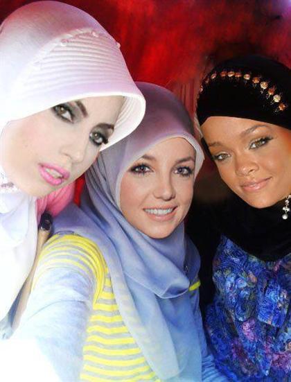 عکس ریحانا, بریتنی اسپیرز و لیدی گاگا با حجاب