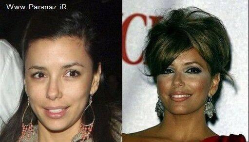 تصاویر بسیار دیدنی از زنان مشهور جهان قبل و بعد آرایش