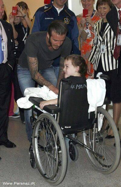 دیوید بکام در حال بازدید از کودکان مریض در بیمارستان +عکس
