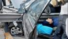 عکس های وحشتناک تصادف راننده زن مشهدی با گاردریل