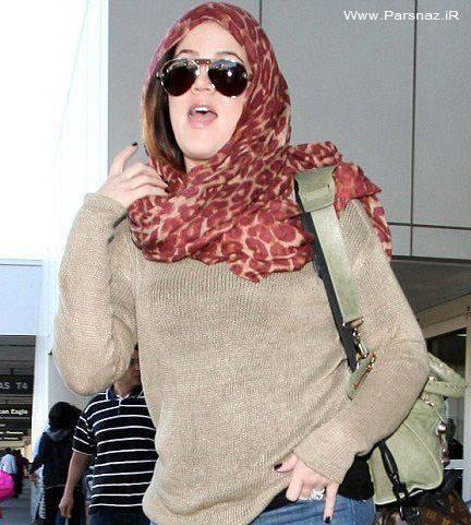 بازیگر زن معروف هالیوود با روسری + عکس