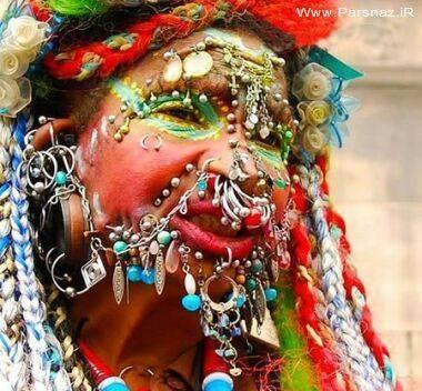 زنی که بدنش 6005 سوراخ و حلقه وجود دارد + عکس