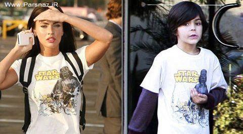 بازیگر مشهور زن لباس های پسر 8 سالهاش را می پوشد