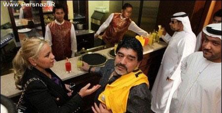 عکس هایی از مارادونا با نامزد جدید و مانکن خود در دبی