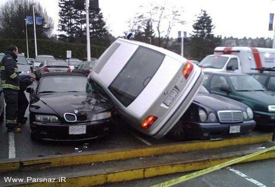 وقتی یک خانم ماشین خود را پارک می کند + عکس طنز