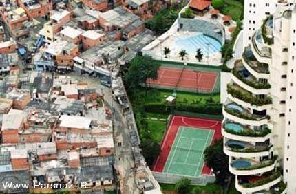 www.parsnaz.ir - عجیب ترین مرز بین ثروتمندان و فقرا یک شهر + عکس