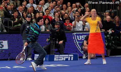 رقابت جالب برترین گلف باز و بانوی اول تنیس دنیا + عکس