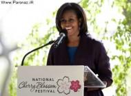 درختکاری میشل اوباما به مناسبت جشن شکوفه های گیلاس