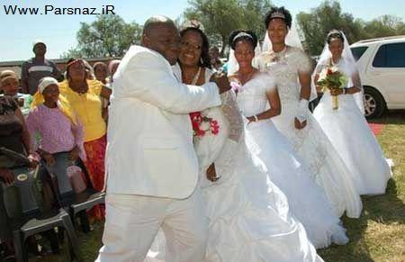 ازدواج بسیار جالب و همزمان این مرد با 4 دختر + عکس