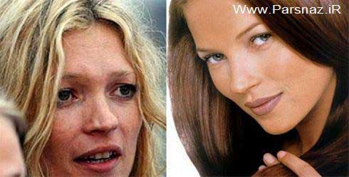 زیباترین زنان معروف هالیوود قبل و بعد آرایش + تصاویر