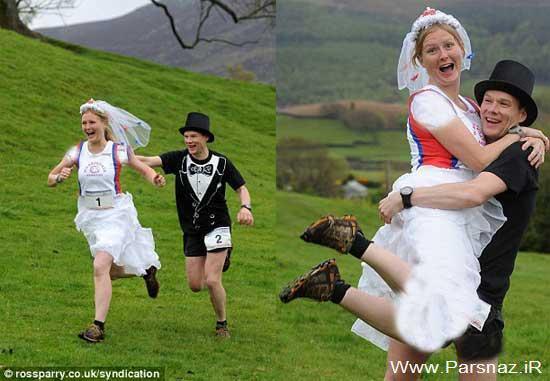 کار عجیب اما جالب عروس داماد در مراسم ازدواجشان +تصاویر