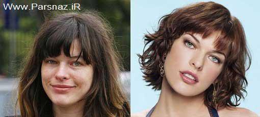 عکس های دیدنی از زنان معروف هالیوود قبل و بعد آرایش (3)