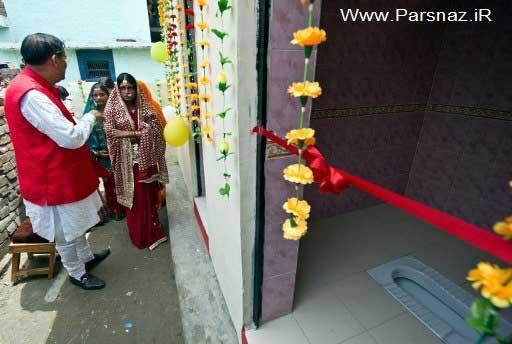 افتتاح جالب یک دستشویی توسط دختران هندی + عکس