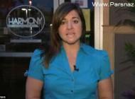 پریدن گربه روی خانم گزارشگر در برنامه زنده تلویزیونی + تصاویر