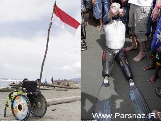 این مرد شجاع بدون دست و پا شگفتی خلق کرد + تصاویر
