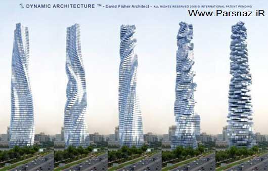 اولین برج در دنیا که هر طبقه به طور جداگانه میچرخد +عکس