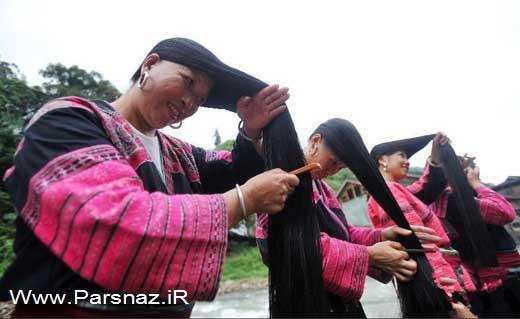 روستایی بسیار جالب با مو بلندترین زنان جهان! + عکس