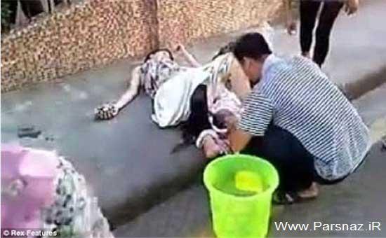 پدر قهرمان و به دنیا آوردن نوزاد در خیابان + عکس