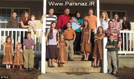 پرجمعیت ترین خانواده آمریکا صاحب 19 بچه خود شد +عکس