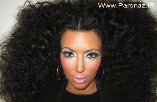 آرایش صورت و مدل موی بسیار عجیب کیم کارداشین + عکس