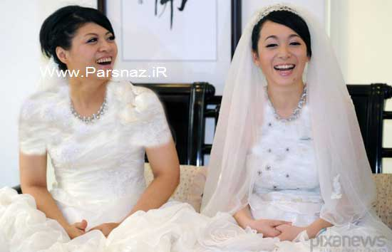 ازدواج 2 خانم همجنس باز برای اولین بار در تایوان + عکس