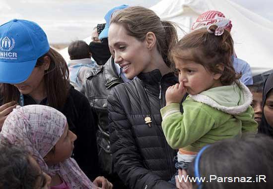 رفتن دوباره آنجلینا جولی به کمپ پناهندگان سوری (عکس)