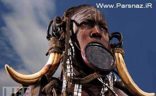 زنان چندش آور با زشت ترین لب ها و دهان در این قبیله